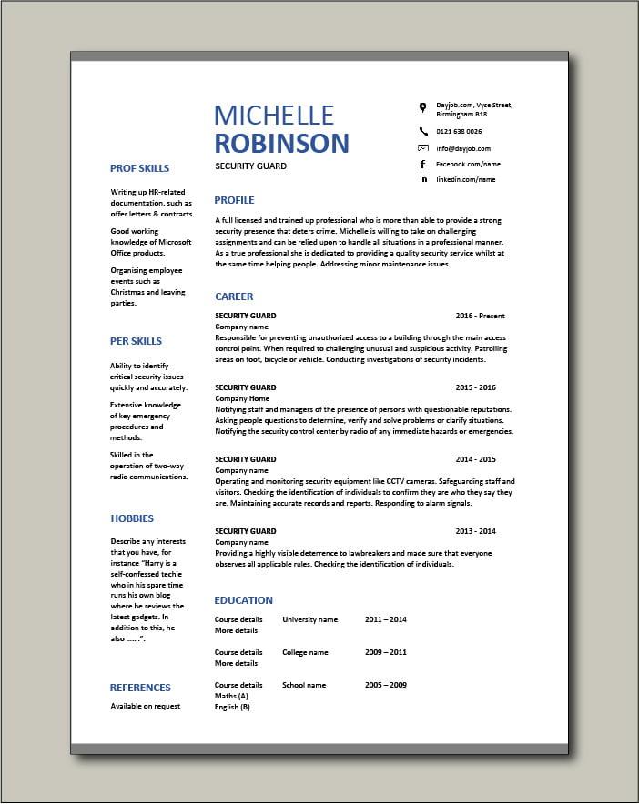 Free Security Guard CV template 8