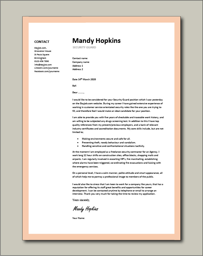Free Security Guard cover letter example 5