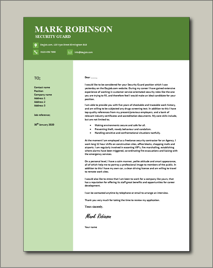 Free Security Guard cover letter example 6