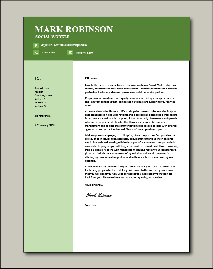 Free Social Worker cover letter example 6