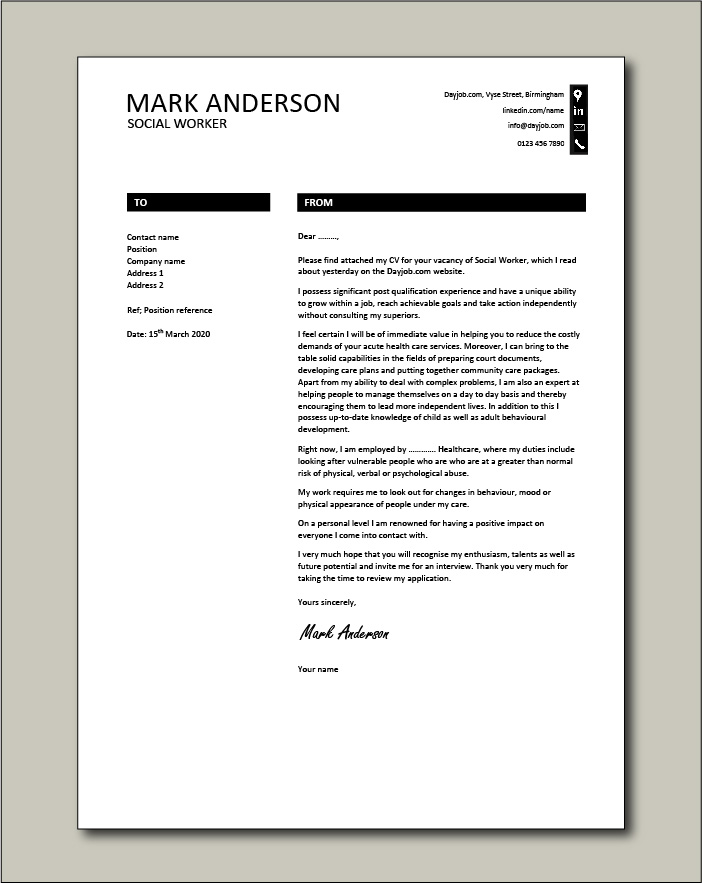 Free Social Worker cover letter example 8