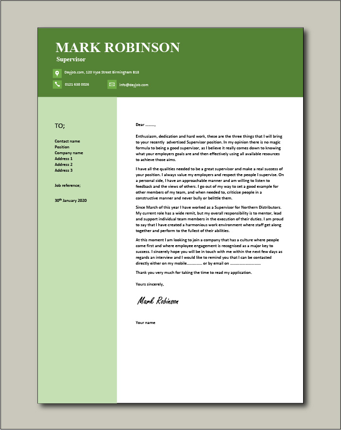 Free Supervisor cover letter example 6
