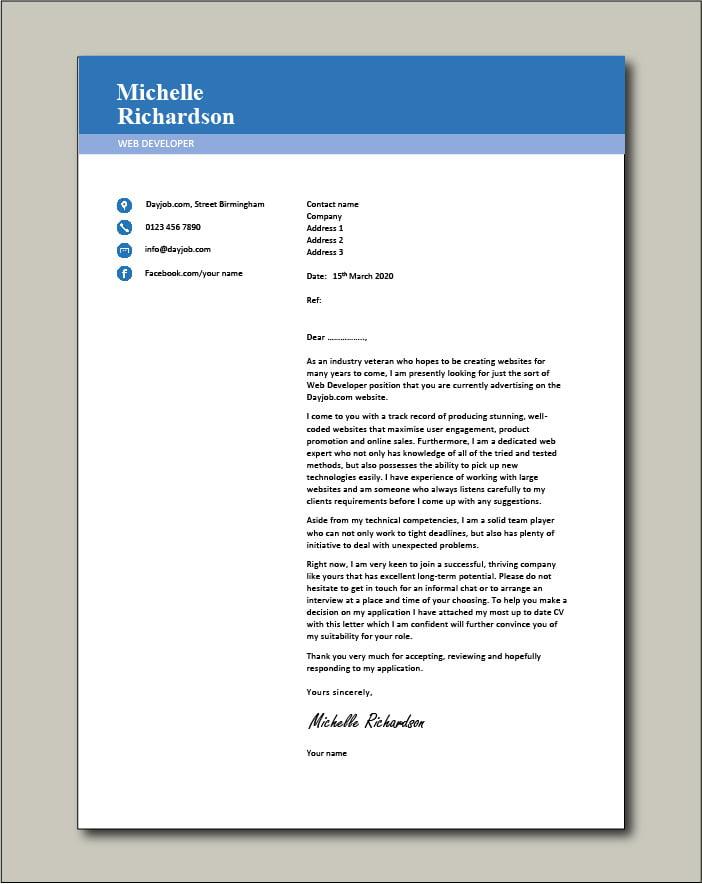 Free Web Developer cover letter example 1
