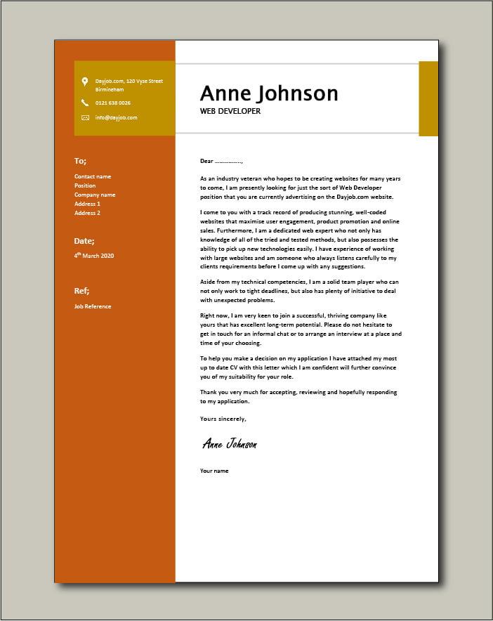 Free Web Developer cover letter example 2