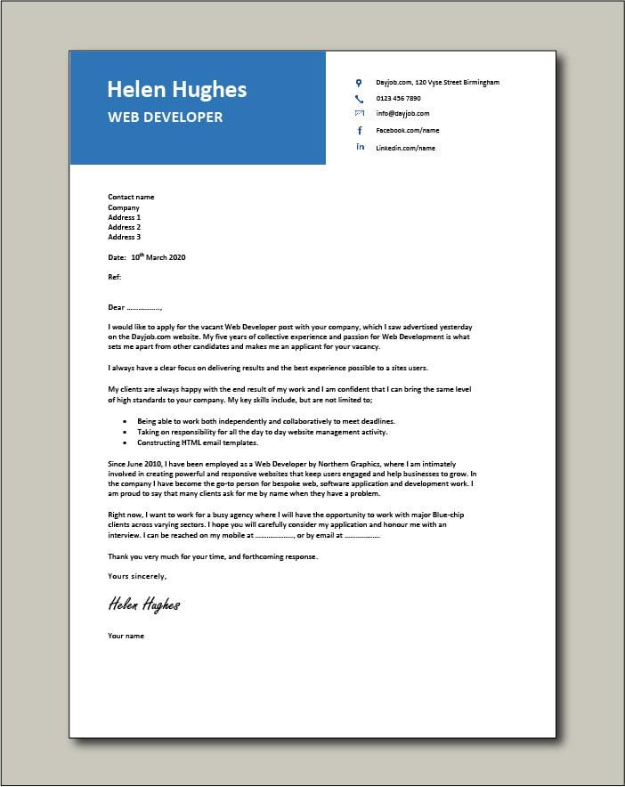 Free Web Developer cover letter example 4