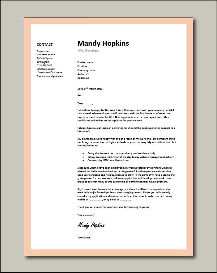 Free Web Developer cover letter example 5