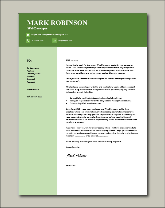Free Web Developer cover letter example 6