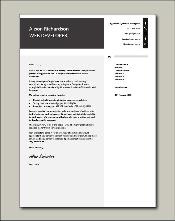 Free Web Developer cover letter example 7
