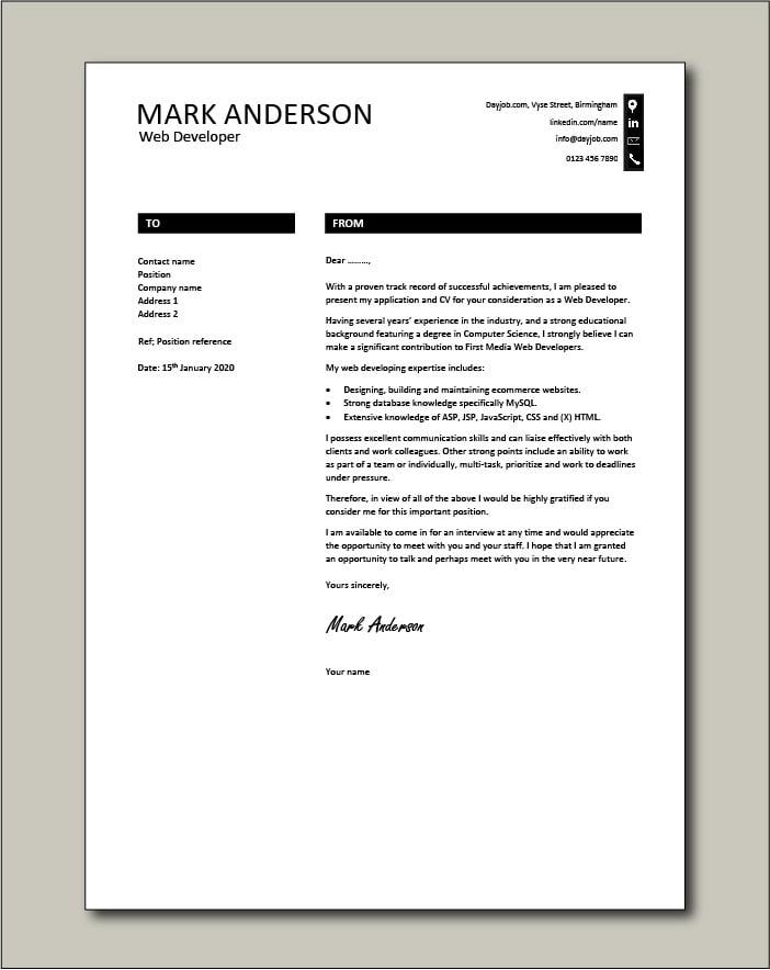 Free Web Developer cover letter example 8