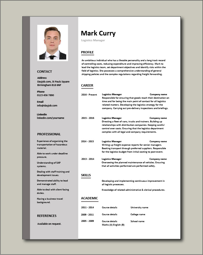 Logistics Manager CV template - 1 page