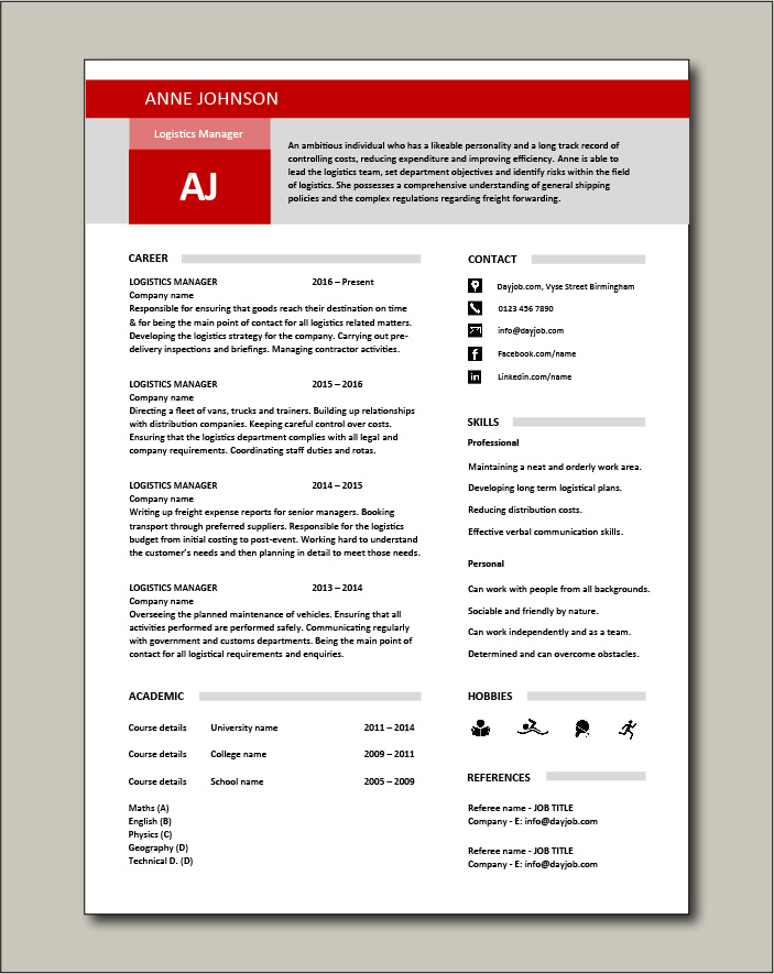Logistics Manager CV template 2- 1 page