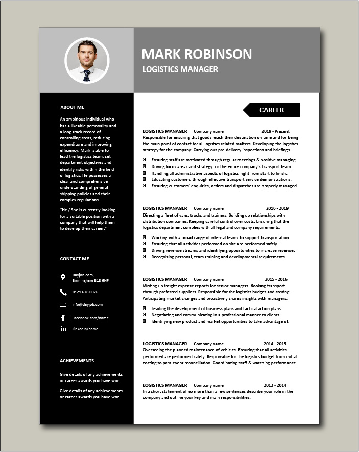 Logistics Manager CV template 3 - 2 pages
