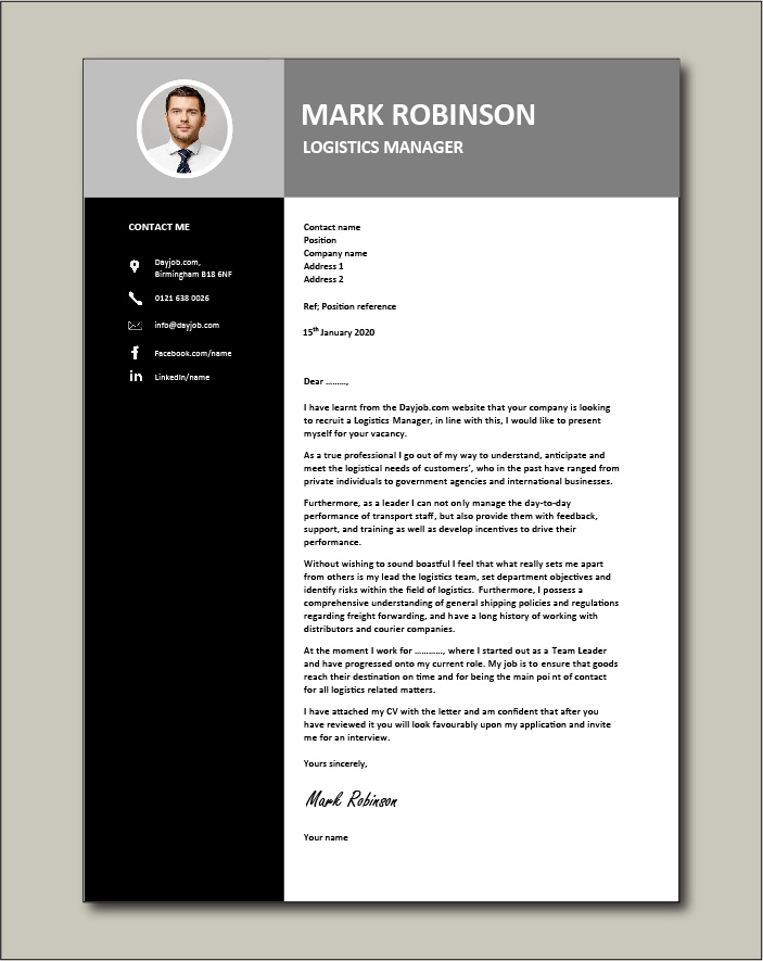 Logistics Manager CV template 3 - Cover letter