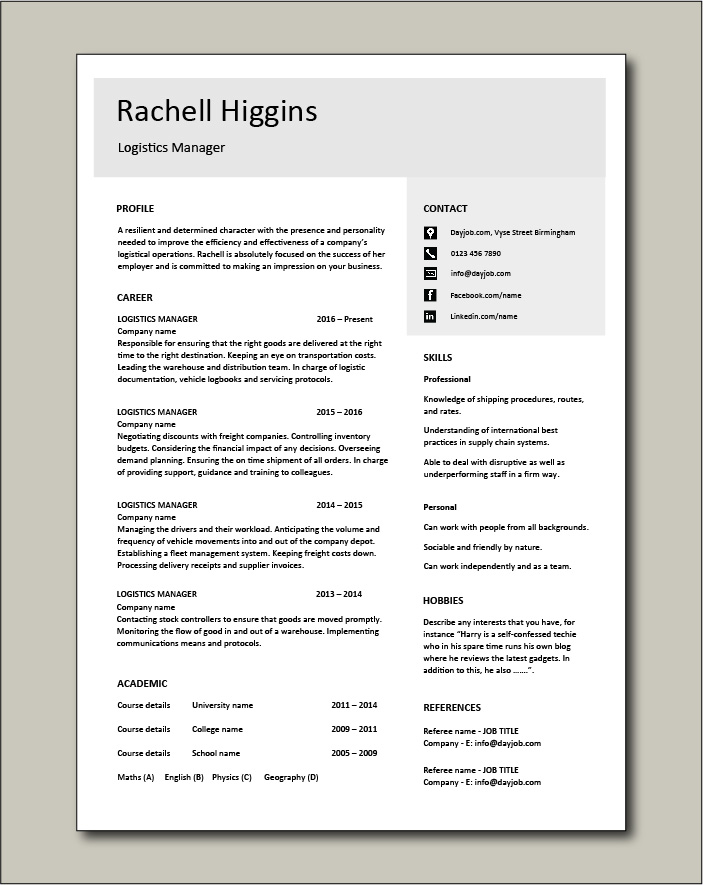 Logistics Manager CV template 4 - 1 page