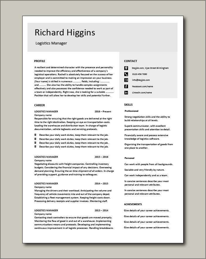 Logistics Manager CV template 4 - 2 page