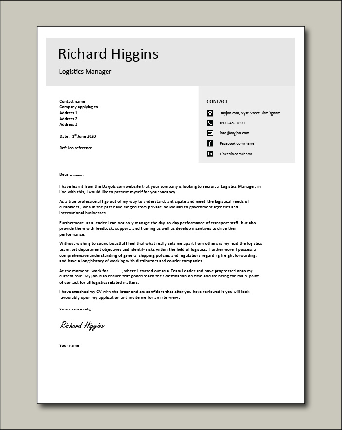 Logistics Manager CV template 4 - Cover letter