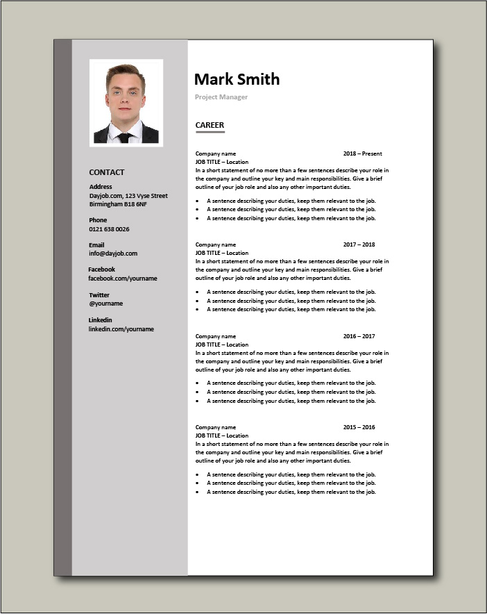 Project Manager CV - Career