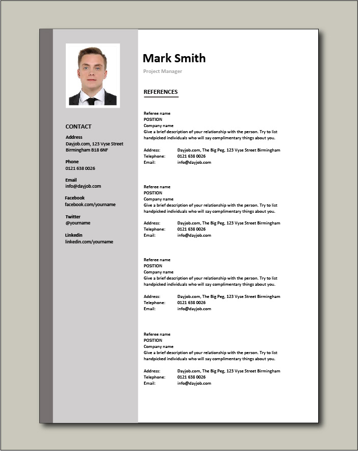 Project Manager CV - References