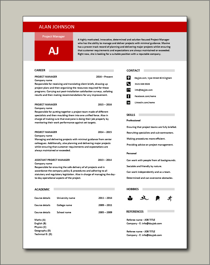 Project Manager CV template 2 - 1 page