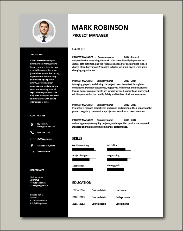 Project Manager CV template 3 - 1 page