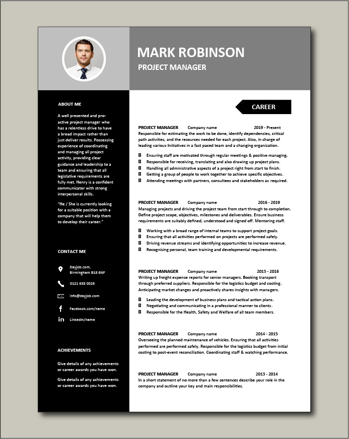 Project Manager CV template 3 - 2 pages