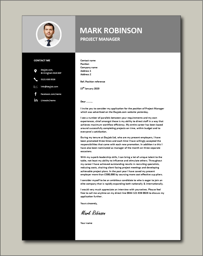 Project Manager CV template 3 - Cover letter