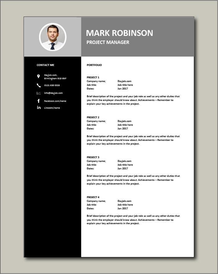 Project Manager CV template 3 - Portfolio