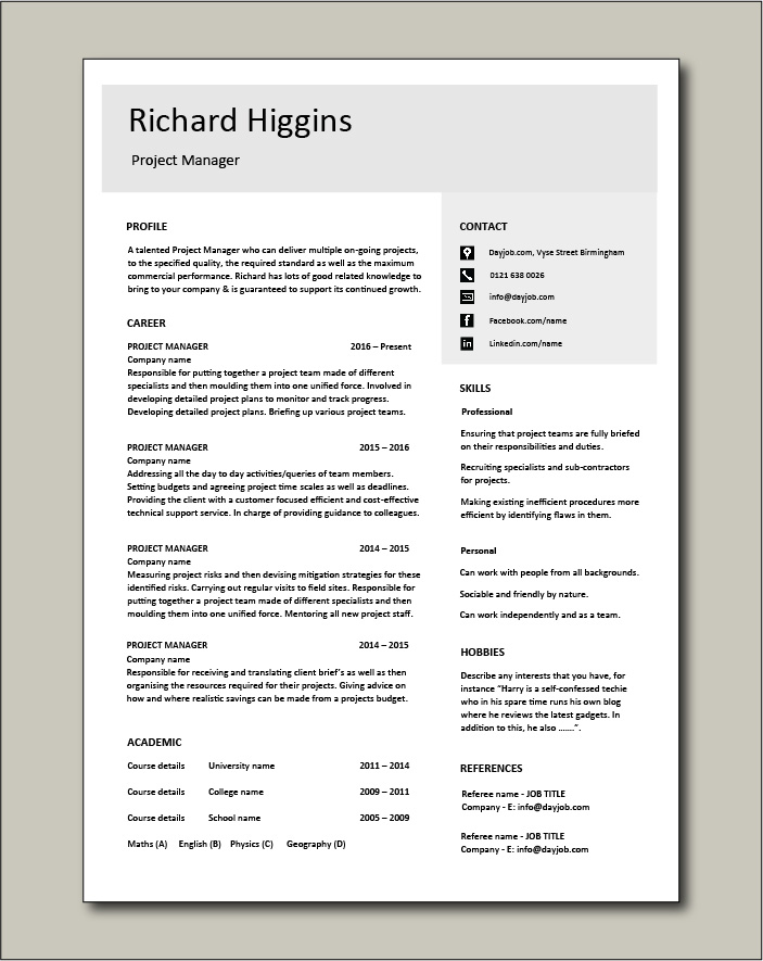 Project Manager CV template 4 - 1 page
