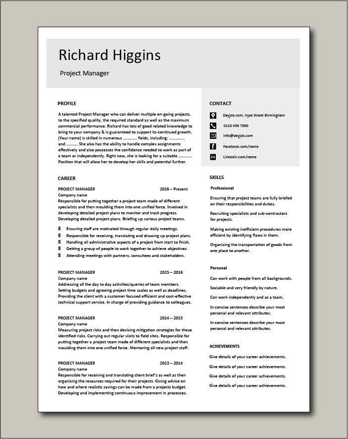 Project Manager CV template 4 - 2 page