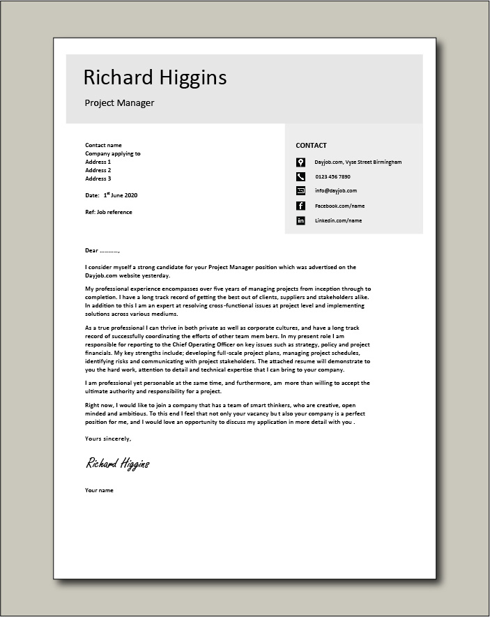 Project Manager CV template 4 - Cover letter