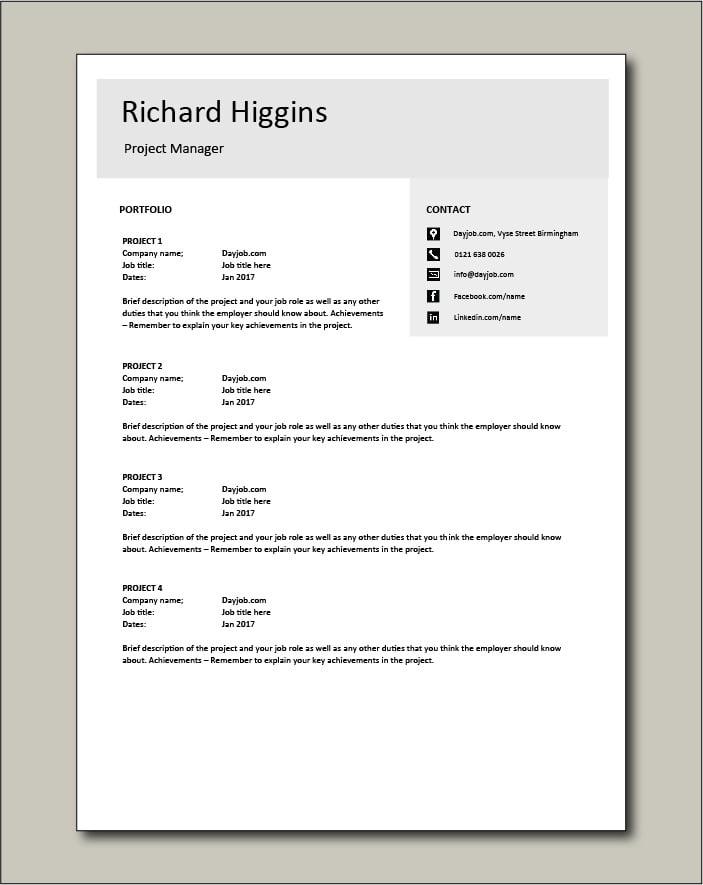 Project Manager CV template 4 - Portfolio