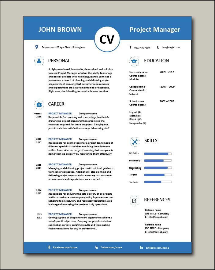 Project Manager CV template 5 - 1 page