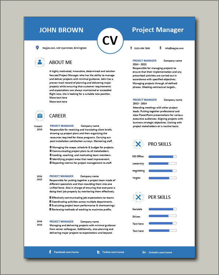 Project Manager CV template 5 - 2 pages
