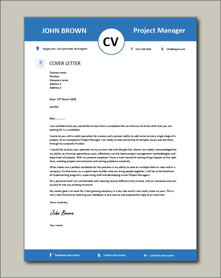 Project Manager CV template 5 - Cover letter