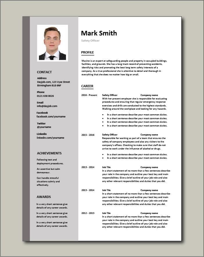 Safety Officer CV - 2 page