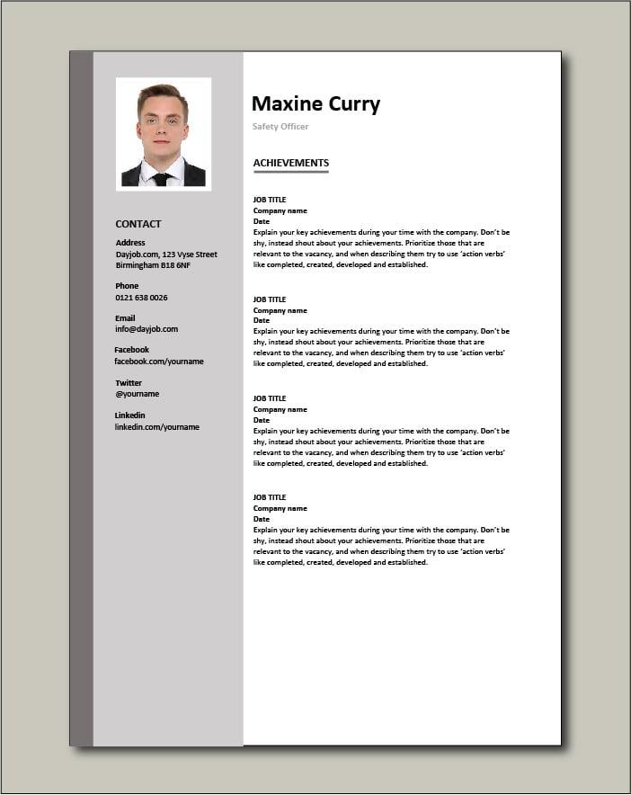 Safety Officer CV - Achievements