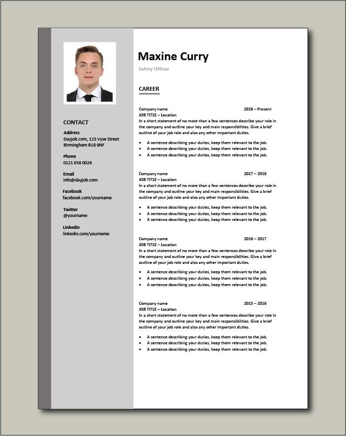 Safety Officer CV - Career