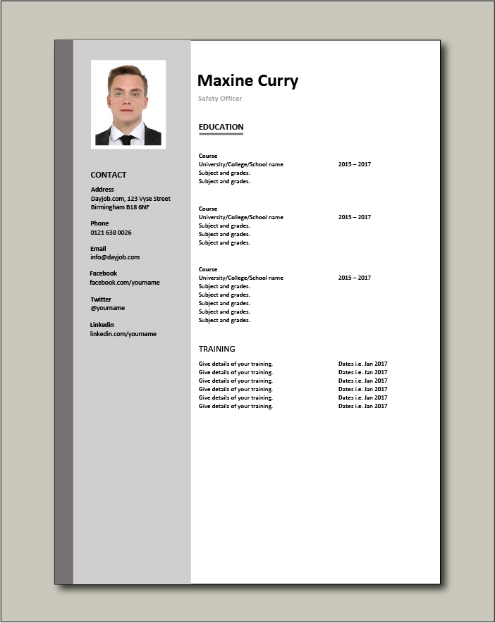 Safety Officer CV - Education
