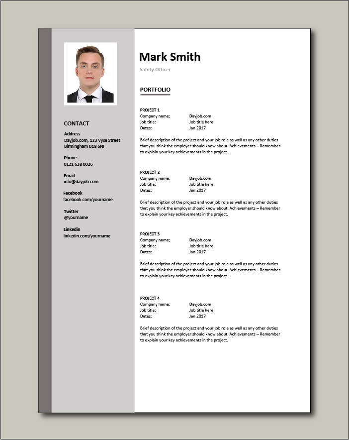 Safety Officer CV - Portfolio