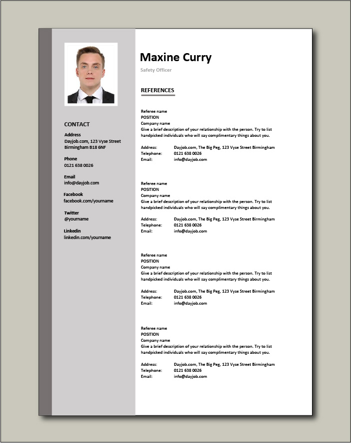 Safety Officer CV - References