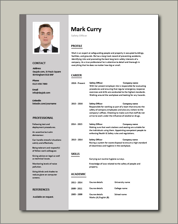Safety Officer CV template - 1 page