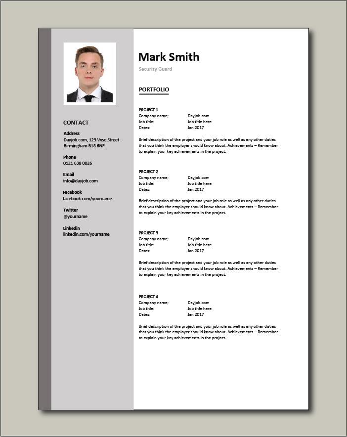 Security Guard CV Portfolio