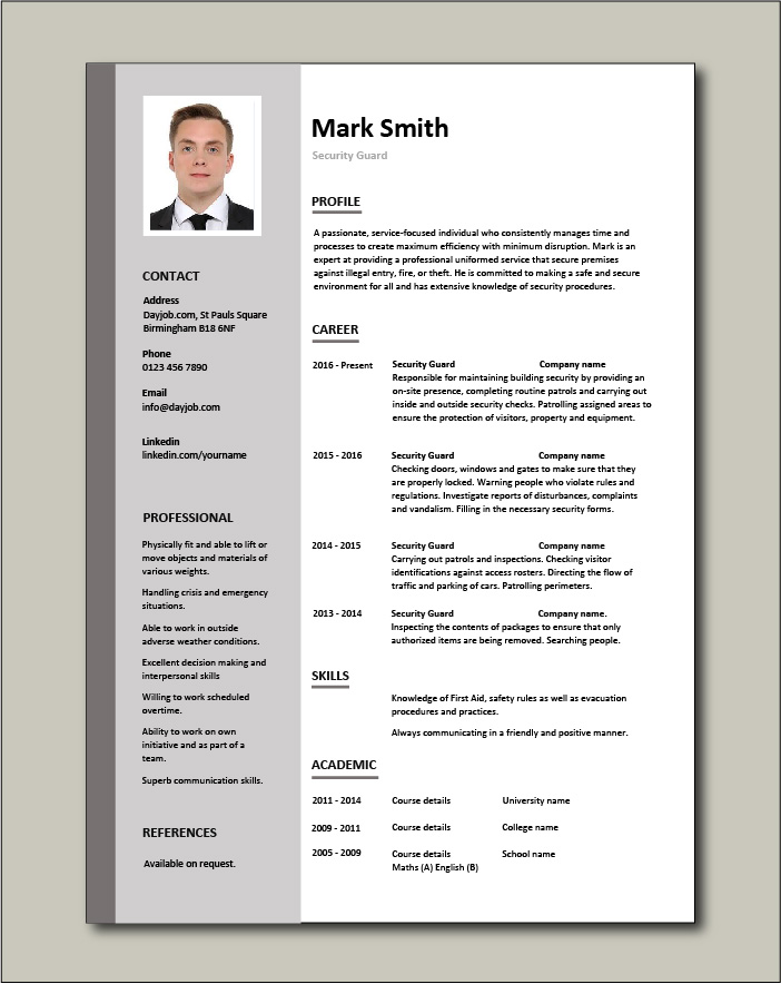 Security Guard CV template - 1 page