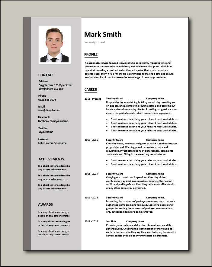 Security Guard CV template - 2 page
