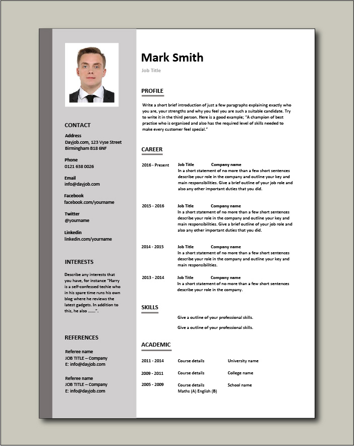 free CV template 3 - pic