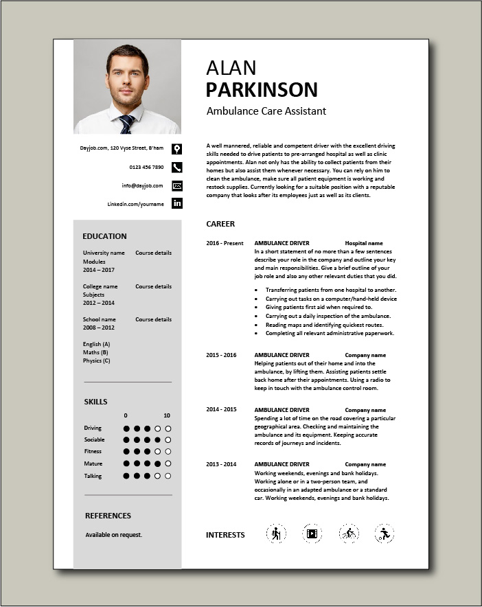 Ambulance Care Assistant CV template - 1 page