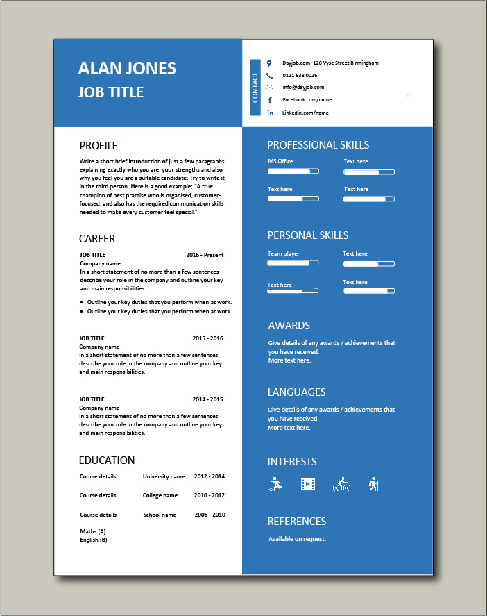 CV template 41 - 1 page
