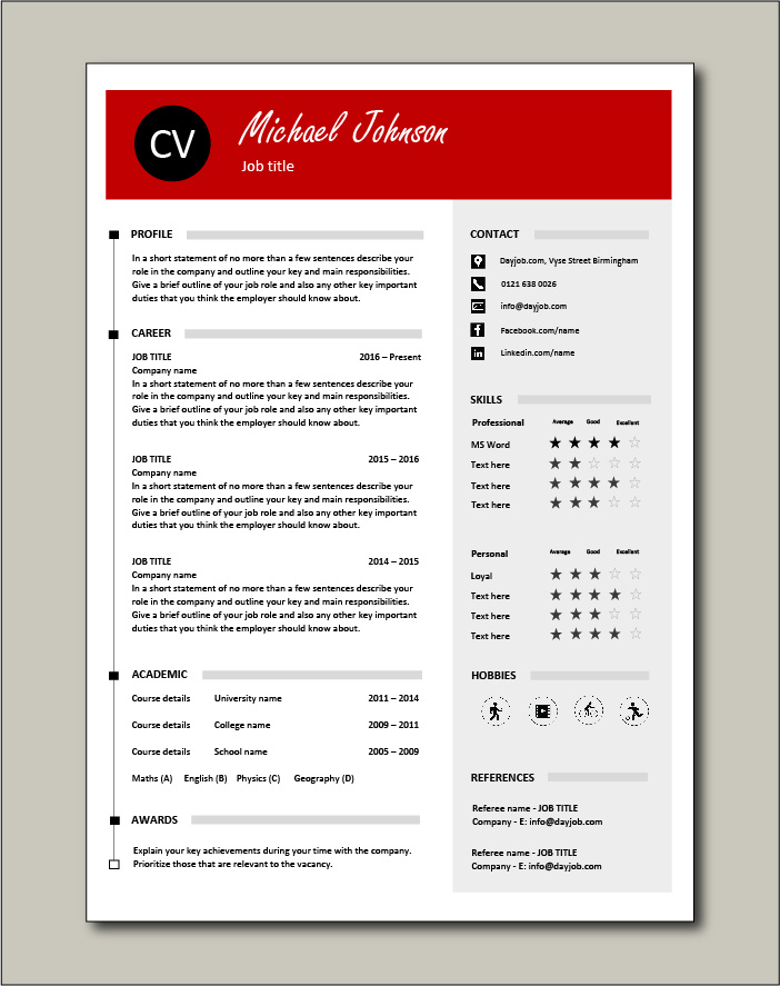 CV template 42 - 1 page