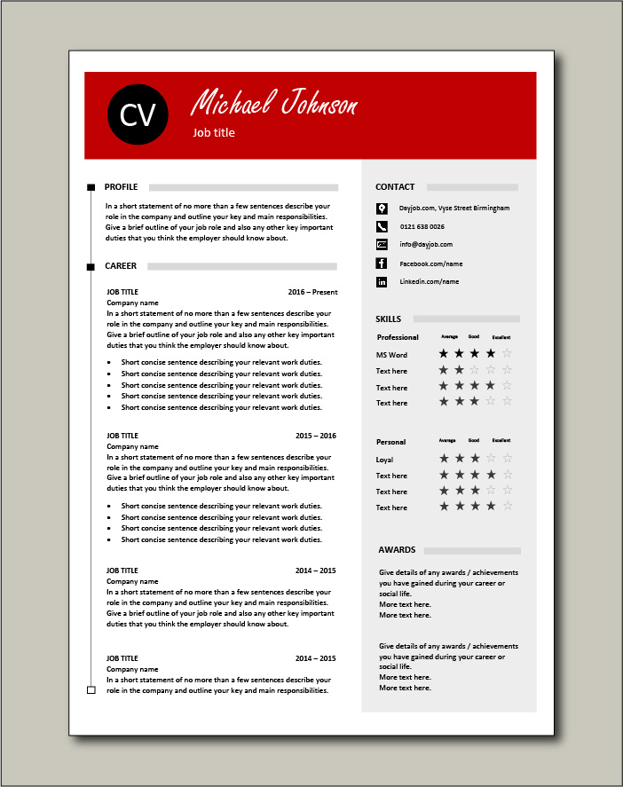 CV template 42 - 2 page