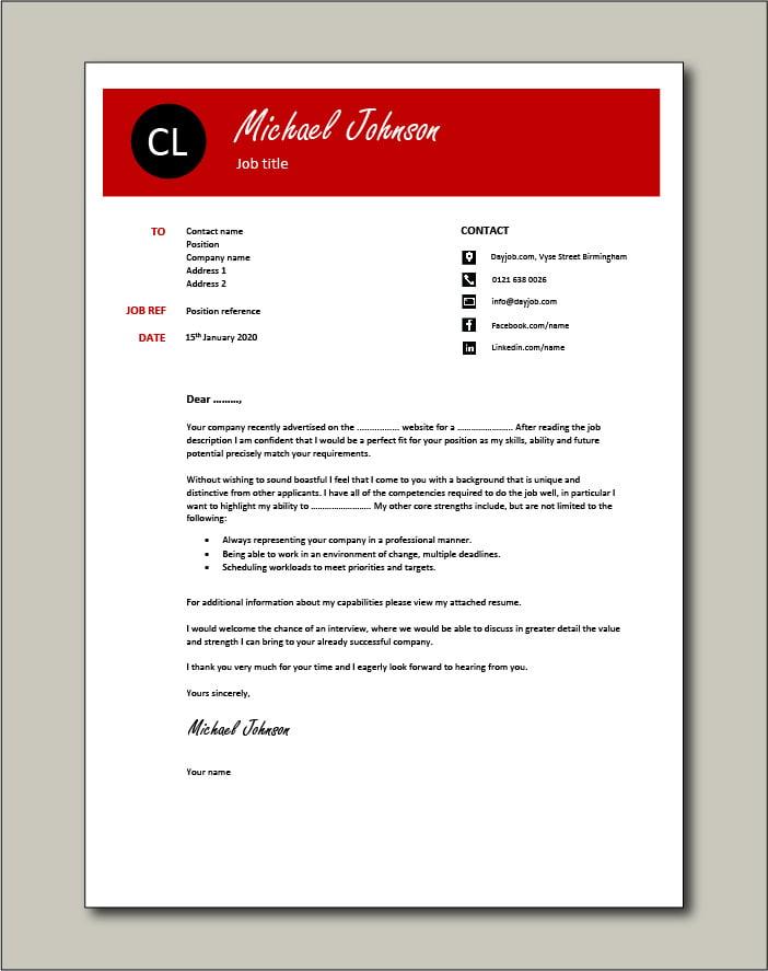 CV template 42 - cover letter